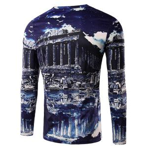 Round Neck 3D Ruins Print Long Sleeve Men's T-Shirt -