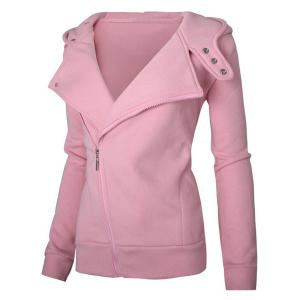 Stylish Solid Color Long Sleeves Hoodie For Women