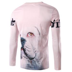 Round Neck 3D Letter and Dog Print Long Sleeve Men's T-Shirt -