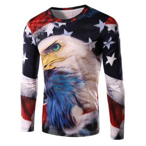 Round Neck 3D Bald Eagle and Flag Print Long Sleeve Men's T-Shirt - Xl