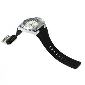 GT Male Decorative Sub-dials Quartz Watch with Double Scales - BLACK