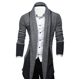 Turndown Collar Color Block Longline Cardigan