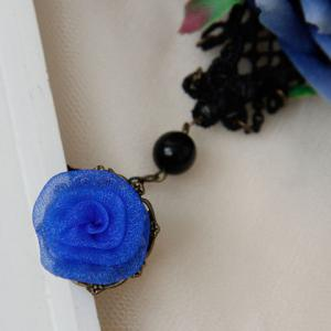 Hollow Out Lace Flower Bracelet With Ring - BLACK