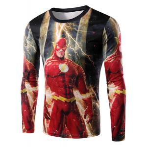 Round Neck 3D The Flash Print Long Sleeve Men's T-Shirt - Red - 2xl