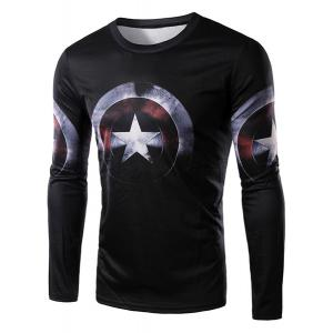 3D Captain America Shield Print Character T-Shirt