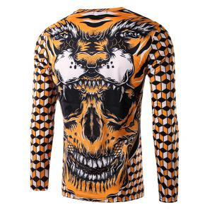 Round Neck 3D Geometric and Skull Print Long Sleeve Men's T-Shirt -