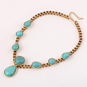 Ethnic Teardrop Faux Turquoise Necklace - TURQUOISE