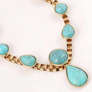 Ethnic Teardrop Faux Turquoise Necklace -