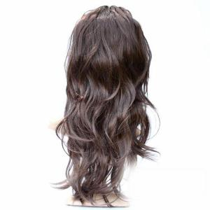 55cm Lady Full Long Curly Wavy Coffee Wig with Fringe for Party Cosplay -