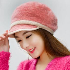 Fashion Faux Fur Button and Strappy Embellished Newsboy Cap For Women -