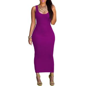 Sexy U Neck Sleeveless Pure Color Bodycon Women's Dress