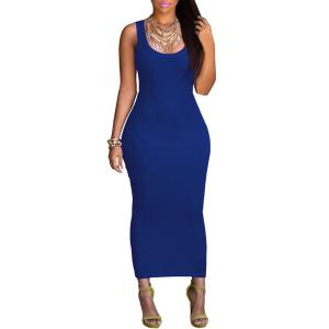 Sexy U Neck Sleeveless Pure Color Bodycon Women's Dress - Blue - L