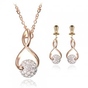 A Suit of Stunning Rhinestoned Heart Shape Hollow Out Necklace and Earrings For Women