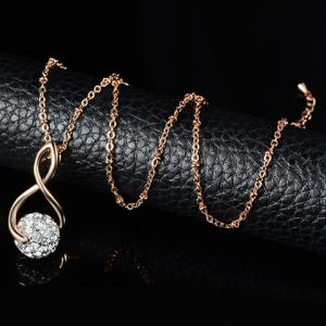 A Suit of Stunning Rhinestoned Heart Shape Hollow Out Necklace and Earrings For Women - GOLDEN