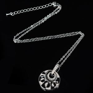 Rhinestoned Hollow Out Round Necklace and Earrings - SILVER