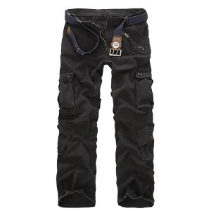 Multi Pockets Straight Leg Military Cargo Pants - Black - 33