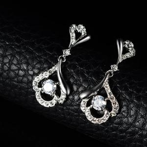 A Suit of Alloy Rhinestoned Hollow Out Necklace and Earrings - WHITE GOLDEN