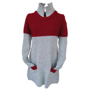 Stylish Turtleneck Long Sleeve Red and Gray Spliced Buttoned Women's Sweater - Gray - One Size(fit Size Xs To M)