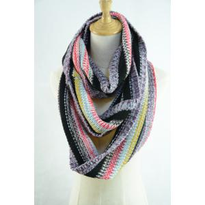 Chic Multifunctional Colorful Loop Knitted Scarf For Women - RED