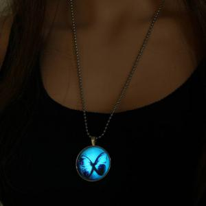Luminous Butterfly Round Necklace - SILVER