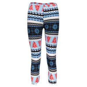 Trendy Women's High Waist Geometrical Print Christmas Leggings - Colormix - One Size(fit Size Xs To M)