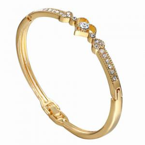 Rhinestone Heart Gold Plated Bracelet - GOLDEN