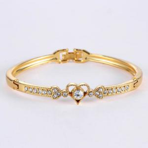Rhinestone Heart Gold Plated Bracelet - Golden - One-size