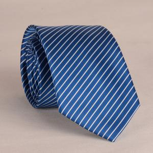 Stylish White Slim Stripe Pattern 8CM Width Tie For Men