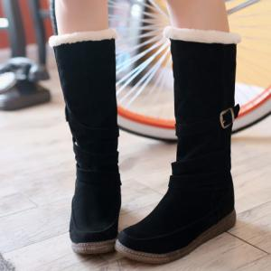 Trendy Cross Straps and Buckle Design Women's Mid-Calf Boots -