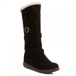 Trendy Cross Straps and Buckle Design Women's Mid-Calf Boots - Deep Brown - 39