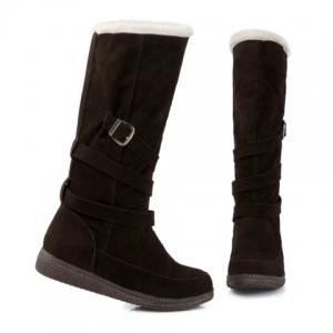 Trendy Cross Straps and Buckle Design Women's Mid-Calf Boots - DEEP BROWN 39