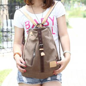 Stylish Buckle and Canvas Design Women's Shoulder Bag -