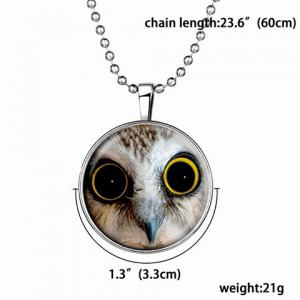 Cute Owl Printed Round Luminous Necklace For Women -
