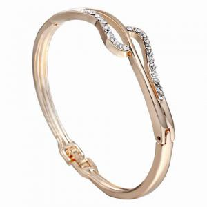 Alloy Hollow Out Rhinestone Gold Plated Bracelet
