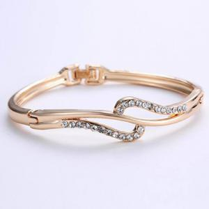 Alloy Hollow Out Rhinestone Gold Plated Bracelet -