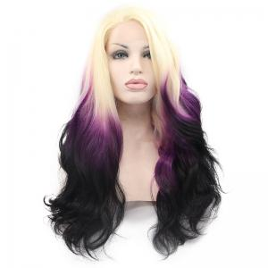 Stunning Long Three Color Gradient Synthetic Nobby Fluffy Wavy Side Bang Women's Lace Front Wig