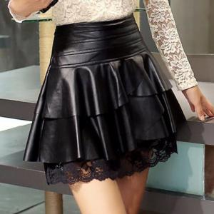 Retro Style Black Ruffles Lace Spliced PU Leather Skirt For Women -