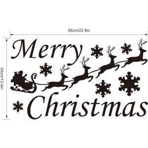 M-45 Small Deer and Snowflake Style Removable Wall Stickers for Christmas Party Ornament - RED