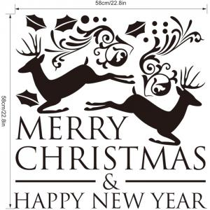 M-28 Small Deer and Merry Christmas Style Removable Wall Stickers for Party Ornament -