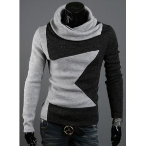 Five-Pointed Star Pattern Color Block Slimming Heaps Collar Long Sleeves Men's Thicken Sweater - Gray - L