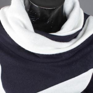 Five-Pointed Star Pattern Color Block Slimming Heaps Collar Long Sleeves Men's Thicken Sweater -