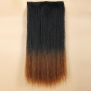 Fashion Long Silky Straight Black Ombre Brown Synthetic Clip-In Hair Extension For Women -