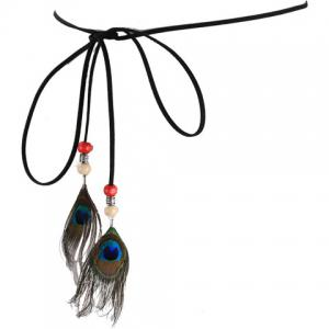 Chic Peacock Feather Pendant Embellished Skinny Belt For Women - BLACK