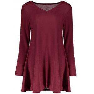 Fresh Style V-Neck Long Sleeve Dress - Wine Red - S