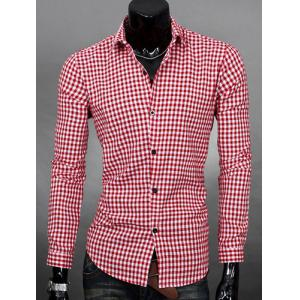 Simple Shirt Collar Color Block Plaid Print Long Sleeves Men's Slimming Shirt - Watermelon Red - Xl