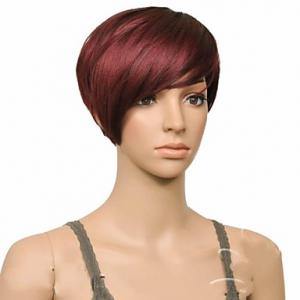 Attractive Claret Ombre Deep Brown Straight Synthetic Vogue Short Side Bang Wig For Women -