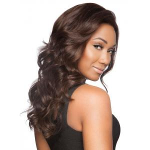 Charming Long Centre Parting Trendy Shaggy Wavy Deep Brown Synthetic Wig For Women -