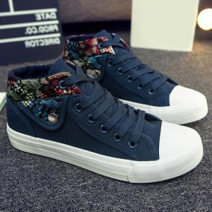 Fashion Stitching and Lacing Design Women's Canvas Shoes -