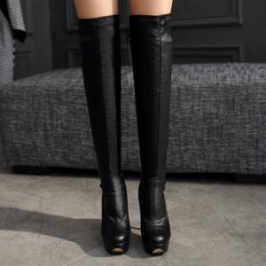 PU Stretch Over The Knee High Heel Boots - BLACK 38