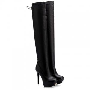 PU Stretch Over The Knee High Heel Boots -